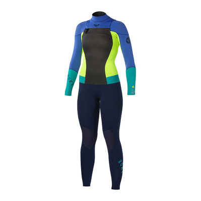 ROXY - SYNCRO CHEST ZIP - Wetsuit - 3/2mm Women's - navy/lemon/purple/turquoise