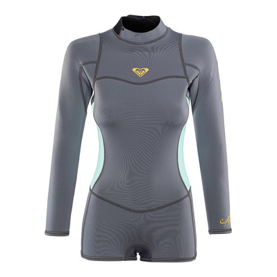 ROXY - SYNCRO LS BZ FLT SPRINGSUIT - Shorts Wetsuit - 2/2mm Women's - deep grey/glicer blue