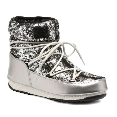 MOON BOOT - LOW CRACKLED WP - Apres-Ski - Women's - silver