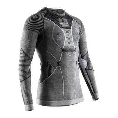 X-BIONIC - APANI MERINO RNECK LS M - Base Layer - Men's - black/grey/white