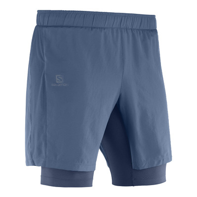 SALOMON - AGILE TWINSKIN - Short 2 in 1 Uomo dark denim