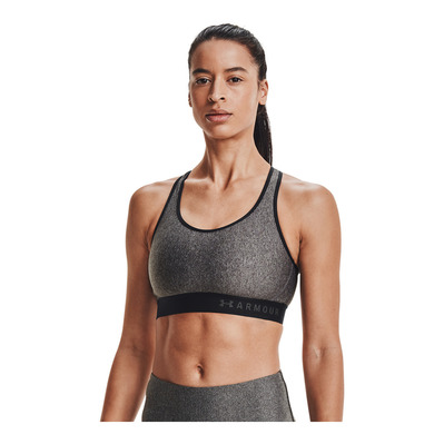 UNDER ARMOUR - Armour Mid Keyhole Heather Bra-GRY Femme GREY