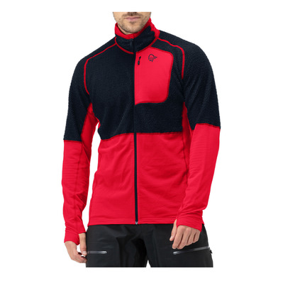 NORRONA - LYNGEN ALPHA 90 - Polaire Homme indigo night/true red