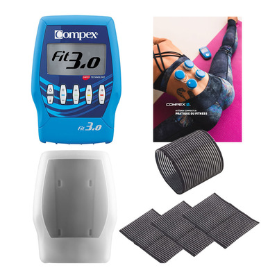 COMPEX  - Compex FIT 3.0 OP - Pack électrostimulateur + Bandes de maintien x4 + Coque de protection