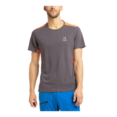 HAGLOFS - L.I.M CROWN - Camiseta hombre magnetite/flame orange
