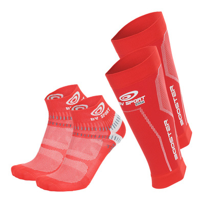 BV SPORT - PACK BOOSTER ELITE - Beinlinge + Socken - red