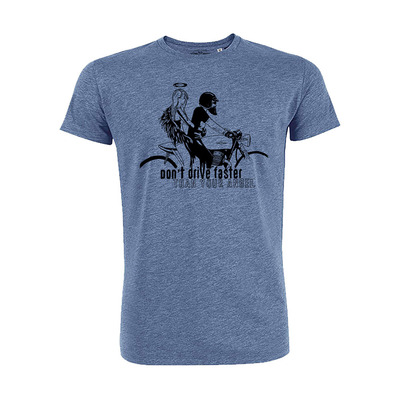 Vestons & Pistons - DON'T DRIVE FASTER THAN YOUR ANGEL - T-Shirt - Men's - mid heather blue