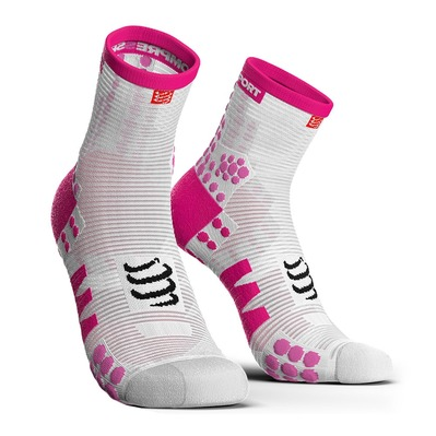 COMPRESSPORT - PRORACING V3 RUN - Calcetines white/pink